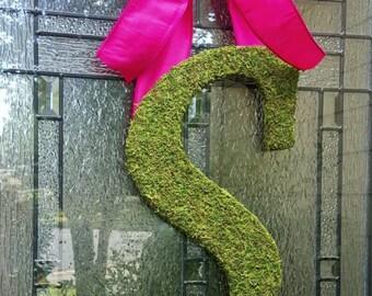 "Moss Letter 15"",Front Door Initial Wreath,Wedding Monogram,Large Letters,Rustic Wedding,Church Door Letters,Barn Wedding,Spring Moss Wreath"