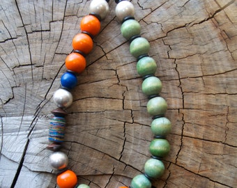 Wood Aluminum and Calsilica Necklace