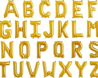 """16"""" gold foil mylar letter balloons"""