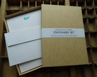 Letterpress boxed writing stationery set blue bird Conqueror paper