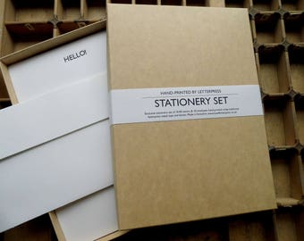 Letterpress boxed writing stationery set HELLO! typographic Conqueror paper