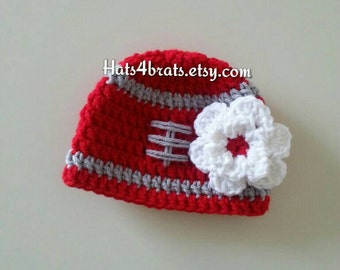 Ohio State Baby Girl's Hat, Ohio State Crochet Hat, Newborn Ohio State Hat, Football Hat, Baby Photo Prop, Girls Ohio State, Crochet Hat
