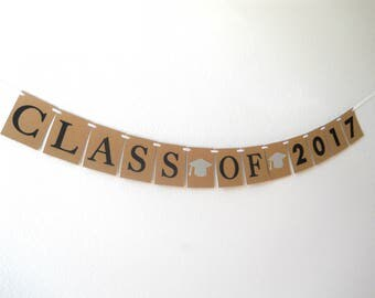 Class of 2017 Banner, Graduation Banner, Graduation Party Decorations, High School Graduation, College Graduation, 2017 Decorations,