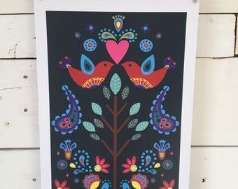 Scandinavian Love birds Print