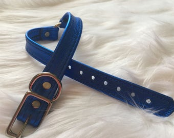 Metalic Blue Leather O-Ring Choker Style Collar