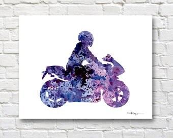 Motorcycle Art Print - Abstract Street Bike Watercolor Painting - Wall Decor