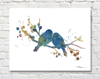 Love Birds Art Print - Abstract Bird Art - Watercolor Painting - Wall Decor