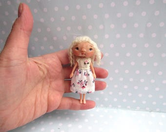 Ooak art doll Custom BLYTHE Friend or BJD toy Moveable Polymer clay artist doll. Handmade Dollshouse miniature Connie Lowe Friend