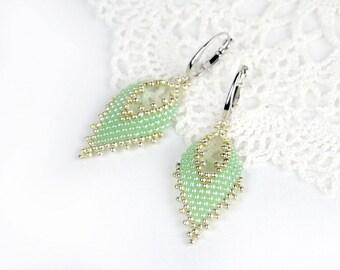 Mint earrings for her elegant earrings for bridesmaids boho earrings for sister gift from aunt sister jewelry for her romantic earrings gift
