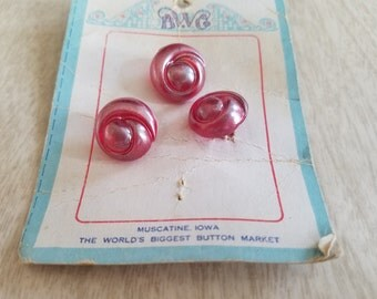 "Vintage ""BWG"" Rosette Buttons-3-on Original Card Muscatine Iowa"