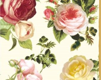 Two (2) Vintage Roses, Floral, Cream Background Luncheon Napkins for Decoupage and Paper Crafts
