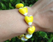 Yellow Hearts Glass Bead Stretch Bracelet, Fun Jewelry, Chic Accessories, Heart Jewelry