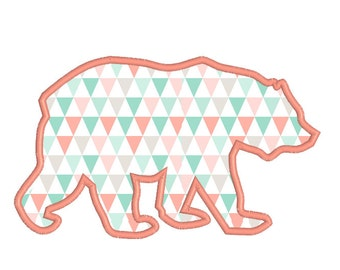 BUY 2 GET 1 FREE - 4x4, 5x7, 6x10 Tribal Bear Applique Machine Embroidery Design - Trendy Aztec, Boho, Mama Bear, Baby Bear
