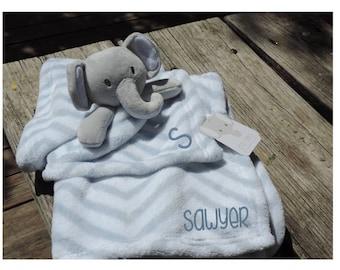 Stuffed Elephant Security Blanket Lovey Set