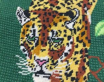 GORGEOUS Leopard Needlepoint ~ FINISHED