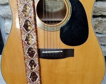 Bronze Sequin Guitar Strap; Statement Guitar Strap; Unique Custom Guitar Straps; Handmade Straps; Gift for Her; Beaded Guitar Straps