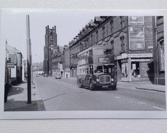 Photo of Old Bus Leeds Yorkshire, Vintage Transport Picture Old Advertising. Travel Lens Harehills