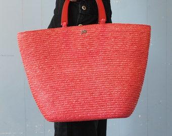 Vintage Straw Market Bag with Lucite Handles/Burnt Orange/Red/