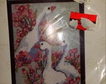 Golden Bee Stitchery Inc. Geese and Flowers Needlepoint   Vintage Kit