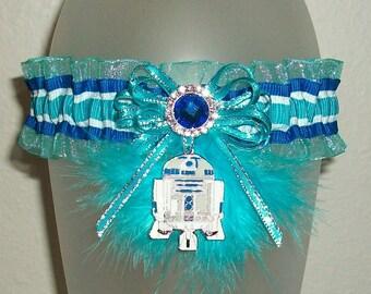 Star Wars R2D2 Turquoise Royal Blue Silver 2017 Prom Garter Rhinestone Sparkle Glitz Feather Glitter Metallic Nerd SciFi Darth Vader Wedding