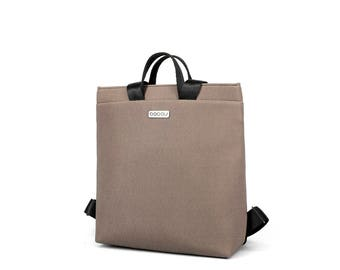 Small beige backpack with light inside. 2 inside pockets and 1 outside pocket. Straps made of seatbelt - Boogie S