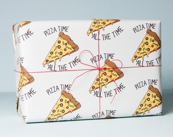 Pizza Time Wrapping Paper, Pizza Wrapping Paper, Pizza Gift Wrap