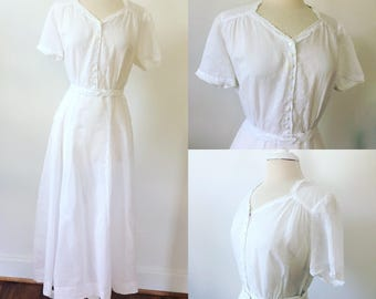 1940s/50s sheer white polka dot summer dress