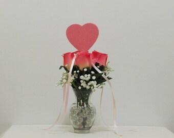Gift for Her, Pink Silk Roses, Sweetheart Gift, Valentine Flowers, Valentine Gift, Baby's Breath, Valentine Decor, Gypsophila