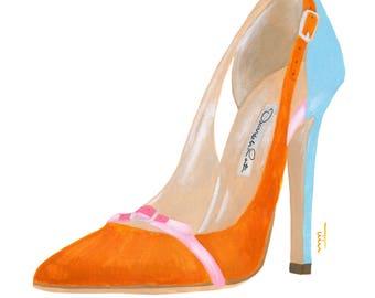Original Oscar de la Renta shoe painting - A4 Fashion Illustration