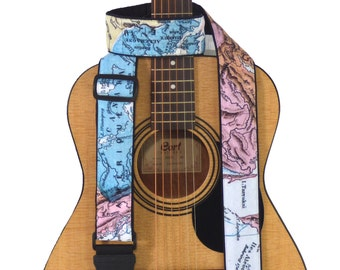 Map Guitar Strap. North America, Europe, Asia Map Guitar Strap for all Types of Guitars. Soft, Comfy, Adjustable, Padded. Guitar Accessories