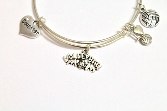 Volleyball Mom Expanding Bangle Charm Bracelet, Gift for Mom, Gift for Her, Volleyball Jewelry, Volleyball Charms, Volleyball Gifts