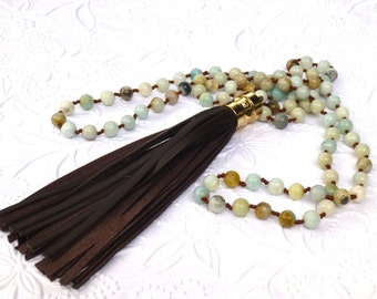 Long Hand knotted Amazonite Necklace With Leather Tassel