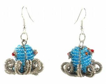 Hand-Beaded Octopus Earrings