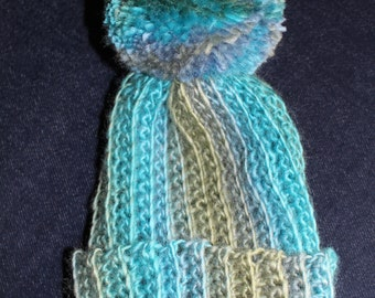 Adorable Blue and Green handmade crochet baby hat/beanie with Pompom