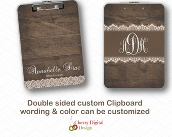 Personalized Double Sided Rustic Professional Clipboard.  Rustic Wood & Vintage Lace Custom Clip Board.  Monogram Clipboard. Teacher Gift.