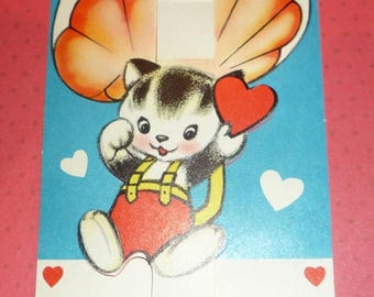 ON SALE Kitten Dropping in on Parachute Valentine - Vintage 1950s