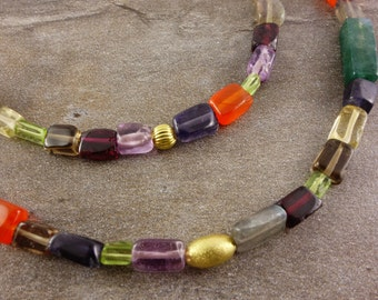 Colorful gemstone necklace gold-plated with 925 Silver, sterling silver, necklace, Labradorite, rectangles, Garnet, Amethyst, Carnelian, agate, gold, multi colored