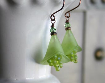 Lime Green Calla Lily and Swarovski Crystal Dangle Earrings, Lime Green Flower and Copper Earrings