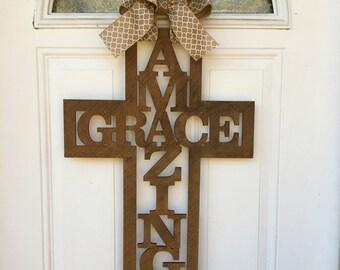 Amazing grace cross door hanger, cross door hanger, amazing grace, religious door hanger, door hanger