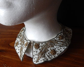 Vintage 1940's Silver and Gold Metallic Zardozi Embroidery Silk Collar Handmade In India by Baar and Beards Inc/Bib Necklace/Collar