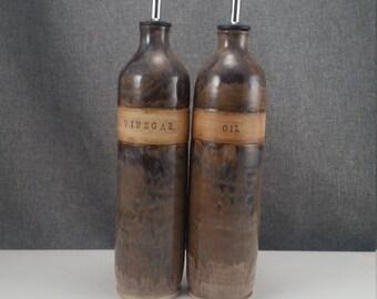 IN STOCK* Handmade Ceramic olive oil cruet, pottery oil bottle, oil and vinegar ceramic bottle, Sage Amber