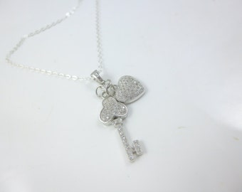 Heart and Key Necklace, Sterling Silver Key Pendant, Key Jewelry, Cubic Zirconia Heart, Key to my Heart Necklace