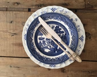 Vintage Mismatched China BLUE | Dinner and Salad Plates {Setting 3}| Birthday Tea Party, Bridal Shower, Anniversary Table Decor, Gift