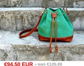 Sale Green Leather Bag, Leather Bucket Bag, Green Suede Bag, Leather Shoulder Bag, Green Crossbody Bag