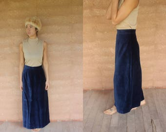 1970's Vintage indigo velour high waist long maxi skirt gypsy boho retro velvet