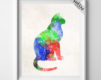 Cat Watercolor Print, Cat Art Print, Kitten Painting, Animal Poster, Nursery Art, Baby Room Decor, Cat Art Decor, Type 1, Halloween Decor