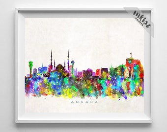 Ankara Skyline Print, Watercolor Poster, Turkey Wall Art, Wall Art, Turkish  Decor