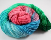 A Wedding In A Church With Bridesmaids And Flowers! Sock Yarn Hand Dyed - 100g 400y 2-ply - READY TO SHIP - Pink, Seafoam, Emerald