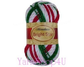 SALE!! HOLIDAY Red/Green/White/Gold, Herrschners Bright Star Christmas Yarn, Metallic threads, 3.5oz, Acrylic blend, 100g