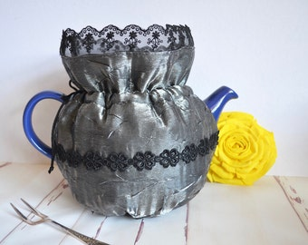 Silver tea cozy, Black lace cosy, Silver wedding anniversary gift, High tea party, special occasion, elegant, insulated, fancy cosy